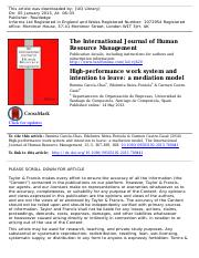 High-performance work system and
