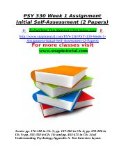 PSY 330 Week 1 Assignment Initial Self-Assessment (2 Papers).doc