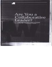 Reading Summary 5 Ibarra & Hansen's Are you a Collaborative Leader