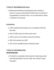 TYPES OF DISCRIMINATION Notes