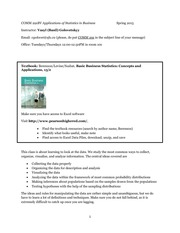 COMM 291BV Applications of Statistics in Business Spring 2015