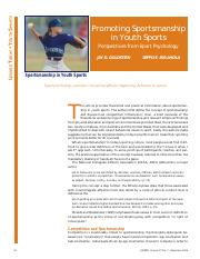 Goldstein, S., & Iso-Ahola,S . (2006, September). Promoting sportsmanship in youth sports perspectiv
