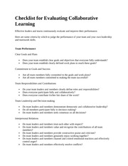 Checklist for Evaluating Collaborative Learning