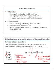 Lecture12 Th 10-03-13 Hybridization, Organic Molecules, and Stoichiometry (Post Lecture 102A)