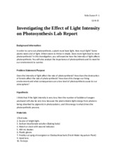 Investigating the Effect of Light Intensity on Photosynthesis Lab Report.