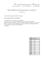 Final Exam Solution Summer 2012 on Calculus