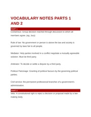 Vocabulary Notes Parts 1 and 2