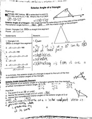 exterior angles of a triangle notes