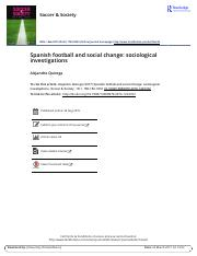 Spanish football and social change sociological investigations
