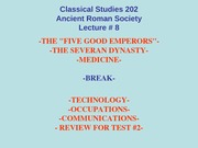 Classical Studies 202 Lecture 8a
