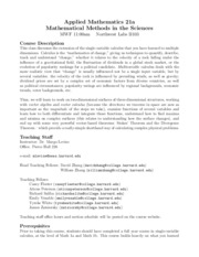 Applied Math 21a Syllabus Fall 2014
