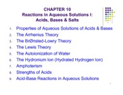 CHAPTER 10 Reactions in Aqueous Solutions I- Acids, Bases & Salts slides