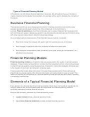 Types of Financial Planning Models.docx