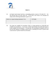 Mutual Fund Test questions