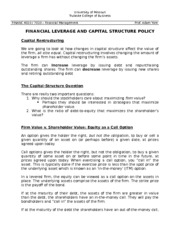 11 Financial Leverage and Capital Structure Policy Notes