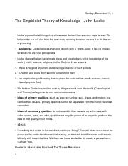 25. The Empricist Theory of Knowledge John Locke