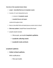 Overview of the Lymphatic System Notes