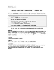 Bio 201 Exam 2 Version 0