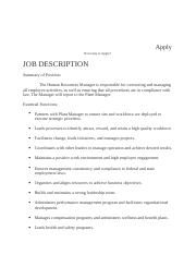 Comprehensive Logistics - HR Job description