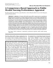 A Competency Based Approach to Nursing Performance Appraisal