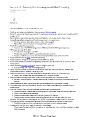 MOL214_Lecture11_Transcription_Eukaryotes Notes
