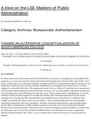 Bureaucratic Authoritarianism « A blog on the LSE Masters of Public Administration