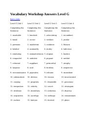 English1 2 vocabular vocab answers level gbook g unit 1 answers related study documents fandeluxe Choice Image