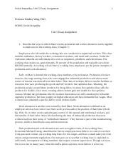 Social Inequality Unit 5 Essay Assignment