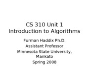 CS 310 Unit 1 Introduction to Algorithms