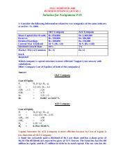 Business Finance - ACC501 Fall 2006 Assignment 08 Solution