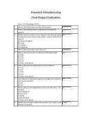 Maverick Manufacturing Final Project Evaluation