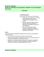 Week 10 - Building an Organization Capable of Good Strategic Execution