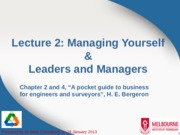 Lecture 2 - Managing Yourself, Leaders, Managers
