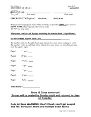 Exam 1 Spring 2012 on Probability and Statistics