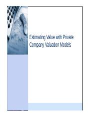 CNC9_Private company valuation models