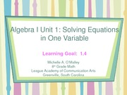 2008-2009 Algebra I PowerPoint4  Unit 1.4