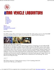 Welcome to the Man Vehicle Laboratory!