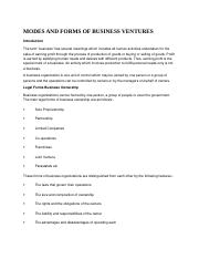 MODES AND FORMS OF BUSINESS VENTURES.docx