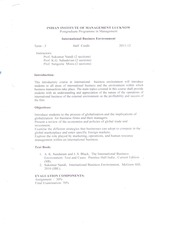 PGP-I Term III - IBE Course Outline 2011-12