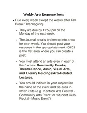 Weekly Arts Posts Rubric