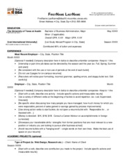 Resume Format Ut Austin 2 pages BBA Resume Format Guide Post-2009