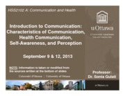LECTURE 1 - Intro to Communication, Self-Awareness, Perception (HSS2102A)