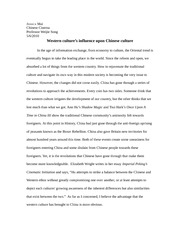 CHinese Cinema Term Paper