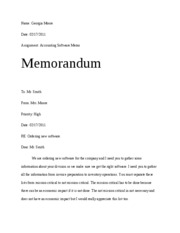 Accounting Software Memo
