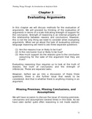 Chapter 3 - Evaluating Arguments