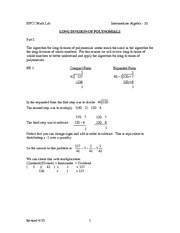 Long Division of Polynomials Review