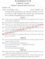 Past Papers 2011 LLB Part 2 Special and Local Laws Paper 7