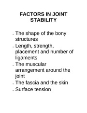 FACTORS IN JOINT STABILITY