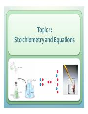 L1 Stoichiometry and Equations