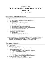 (Ch 17) A New Industrial and Labor Order